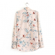 Inspired Floral Design Casual Top with Collar