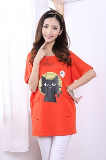 Cat Print Long Tee with Pockets