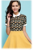 Cartoon Printed Collared Top