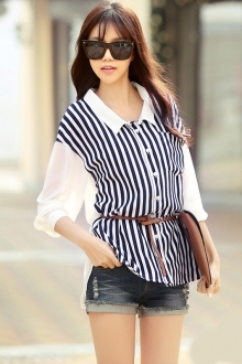 Stripes Design Asymmetric Collared Top