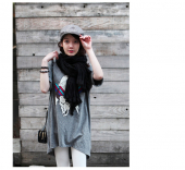 Cartoon Printed Casual Long Tee