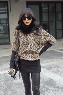 Leopard Printed Batwing Short Dress