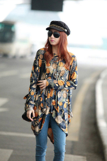 Coins Printed Batwing Top