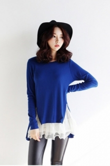 2 Pieces Joint Zip Design Women Top
