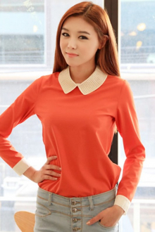 Stud Design Collar Casual Top