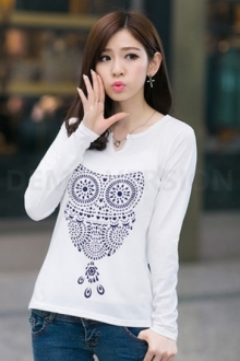 Owl Printed Long Sleeve Casual Tee (One Piece Only)