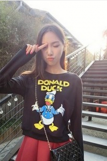 Cartoon Duck Printed Sweater Top