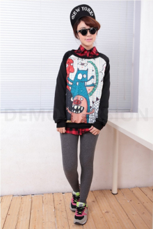 Cartoon Printed Sweater Top