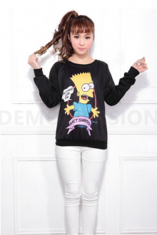 Bart Simpson Cartoon Printed Women Sweater Top