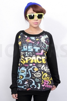 Wording Printed Short Sleeve Sweater Top