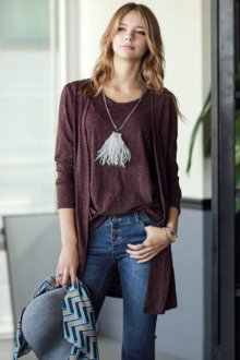 2 Pieces Basic Long Cardigan with Sleeveless Inner Top