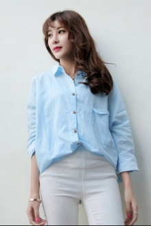 Irregular Loose Long-Sleeved Shirt Blouse