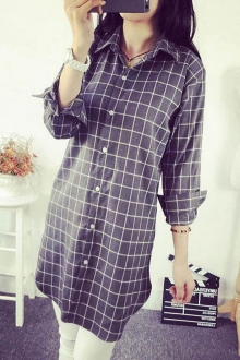 Loose Plaid Long Sleeve Shirt