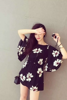 Floral Mini Dress with Waist Band