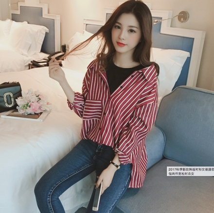 Drop Shoulder Collared Stripe Shirt with Inner Attach