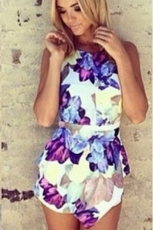 Floral Design High Waist Short Jumpsuit