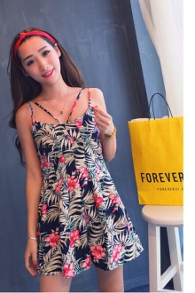 Floral Design Chiffon Short Jumpsuit