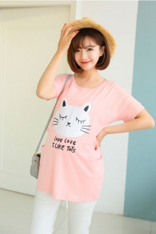 Cute Cat Printed Maternity Casual Top with Pockets