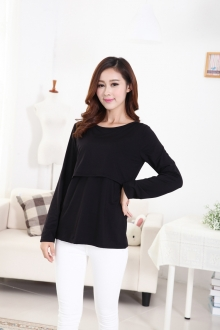 Round Neck Basic Maternity Casual Tee