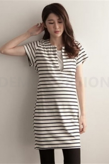 Stripe Design Women Long Top