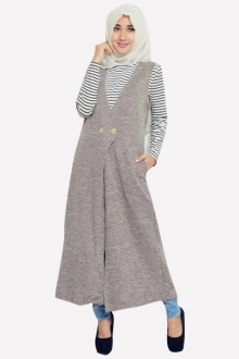 2 Pieces Joanna Outer Vest with Stripes Inner Top