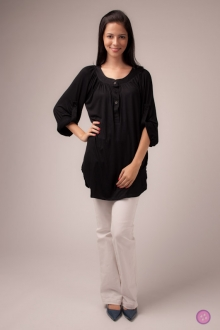 Loops Cotton Neck Blouse