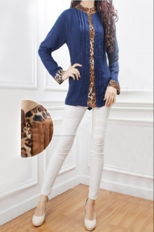Leopard Printed Pleated Design Women Blouse
