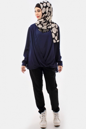 Cross Design Collard Women Blouse