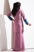2 Pieces Enisa Kurung With Colour Blocking Sleeve