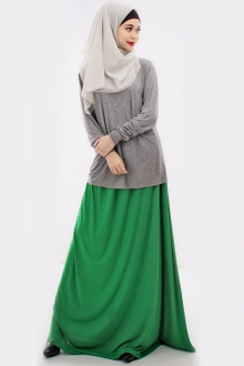 2 Pieces Basic Casual Top with Long Skirt (Including Shawl)