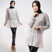 2 Pieces Peplum Blouse With Pants (Including Shawl)