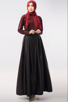 2 Pieces Round Neck Top with Flare Skirt Hijaber Set (Including Shawl)