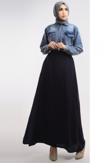 2 Pieces Denim Top with Long Skirt (Including Shawl)