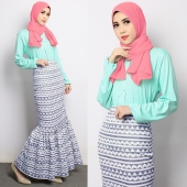 2 Pieces Basic Button Top with Tribal Printed Skirt (Including Shawl)