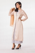 2 Pieces Long Lapel Coat With Sleeveless Inner Dress