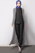 3 Pieces Stripes Design Long Cardigan + Sleeveless Top with Pants (Including Shawl)