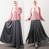 2 Pieces Chiffon Top with Flare Long Skirt (Including Shawl)