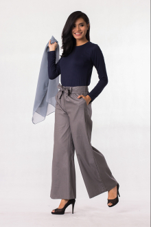 2 Pieces Stretchable Long Sleeve Top With Flared Wide Leg Knotted Belt Pants (Including Shawl)