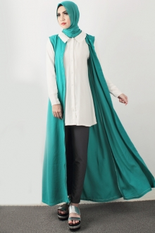 3 Pieces Sleeveless Long Cardigan + Collared Top with Long Pants (Including Shawl)