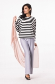 2 Pieces Batwing Stripes Desgin Loose Top With Palazo (Include Shawl)