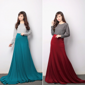 2 Pieces Stretchable Long Sleeve Top With High Waisted Skirt