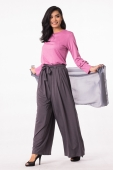 2 Pieces Ruffle Sleeve Design With Adjustable Belt Palazo Pants (Including Shawl)