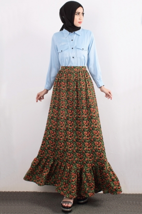 2 Pieces Denim Top With Frilled Edge Skirt (Including Shawl)