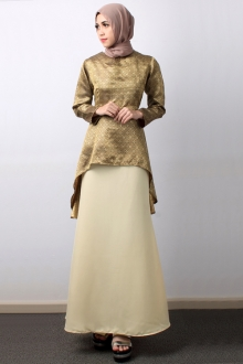 2 Pieces Songket Fishtail Longsleeve Top With Flared Mermaid Skirt