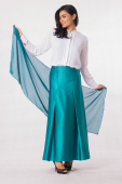 2 Pieces Front Button Blouse With Flared Long Skirt (Including Shawl)