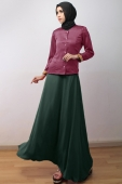 2 Pieces Golden Patch Design Blouse With Flared Long Skirt (Including Shawl)