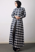 3 Pieces Plaid Long Sleeve Shirt + Sleeveless Inner Top With Long Skirt (Including Shawl)