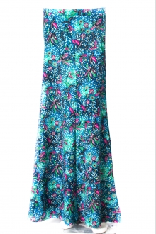 Debra In Floral Motifs 2 Panel A-Cut Skirt