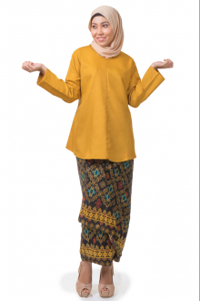 Zayaan Loose Top with Self Tied Sarong in Songket Motif