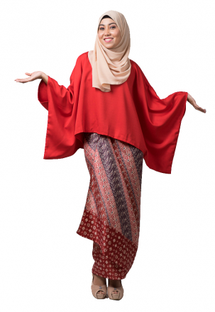 Zayba Kurung Bat Wing with Self Tied Printed Sarong